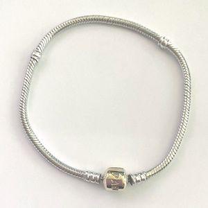 """Pandora Bracelet w/ 14kt yellow gold clasp, 7.9"""""""